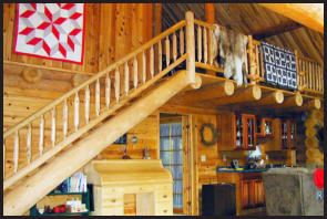 Interior Log Railings and stair cases