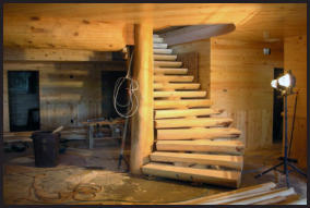 Wooden Spiral Log Staircase