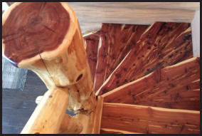 Spiral Red Oak Wood Log Staircase