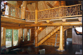 Log stair case with twig art railings Michigan